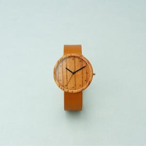 Zelkova wood - Organic leather Honey - L