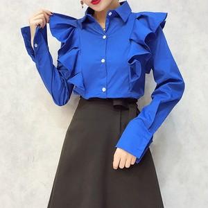 861.肩フリルロングスリーブシャツ(ブルー)