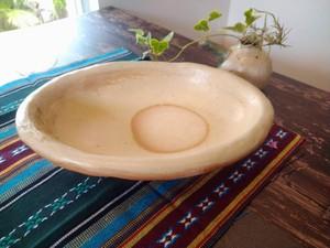 穴窯 薪窯焼締白楕円鉢 B-0033