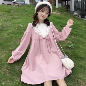 【ワンピース】春服新作日系スウィート清新ゆったり着瘦せ長袖ハイウエストワンピース
