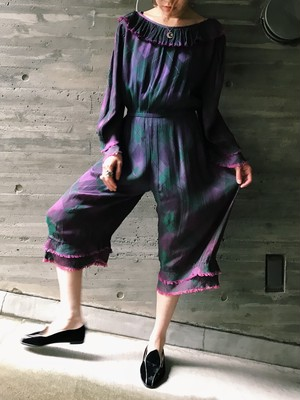 Vintage purple × green plaid rayon jumpsuits ( ヴィンテージ パープル × グリーン チェック柄 オールインワン
