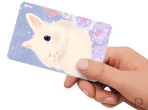 ICカードステッカー 青薔薇と白うさぎ