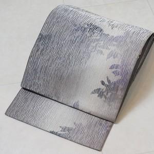 室華風 三松謹製 洒落袋帯 全通 蔦 正絹 銀糸 グレー 紫 203