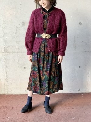 Vintage Mohair Hand Knit Cardigan Made In Italy