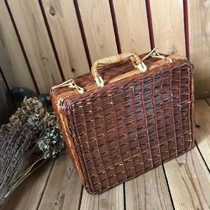 ≫古いピクニックバスケットトランク*カゴ籠かごバッグ*自然天然ナチュラルかばん収納ヴィンテージアンティークアウトドアキャンプクウネル