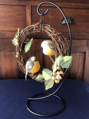 ヤマガラカップルの小鳥リース