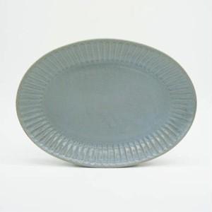 パンとごはんと... (Bread and Rice) ひらひらの器 OVAL PLATE (オーバルプレート) M【ブルー】