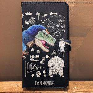 黒革手帳型スマホケース「恐竜シリーズ」M/Sサイズ