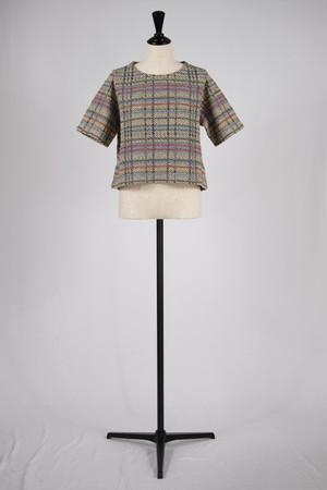 【COOHEM】summer check tweed pull over - beige
