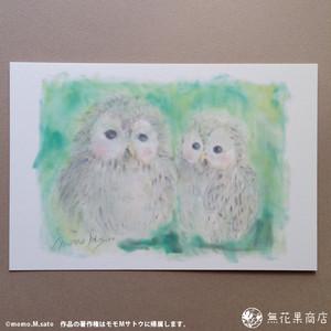 ポストカード「ふくろうの憩い」モモMサトウ pc064