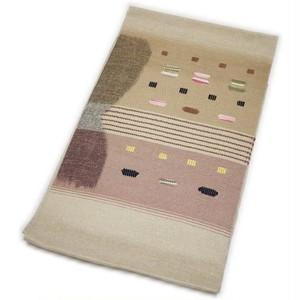 なごや帯 正絹 仕立て上がり 八寸 名古屋帯 紬すくい織 手織袋名古屋帯(生成り系) [001017i]