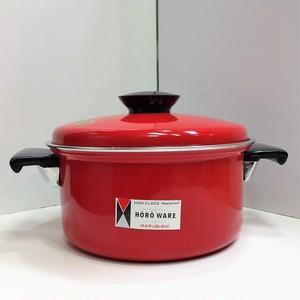 マルビシ ホーロー製の両手鍋【赤】(0506202S80)