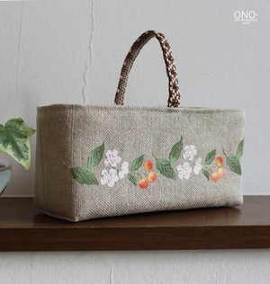 prune et cerisier* コラージュ小物入れ 横長<-リネン・サクランボ->