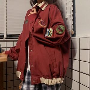 【アウター】レトロ長袖シングルブレストPOLOネックジャケット51323896