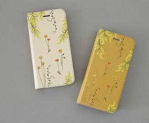 黄色い花たちのiPhoneケース手帳型