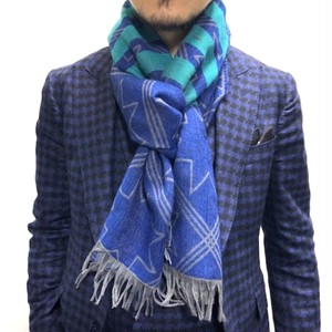 2174-IMM012-1 イタリア製三織混オクタグラムストールマフラー/ブルー