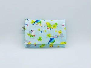 ふた付きポケットティッシュケース♪小鳥がいっぱい♪ブルー