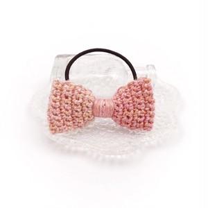 フラワーリボンのヘアゴム*ピンク
