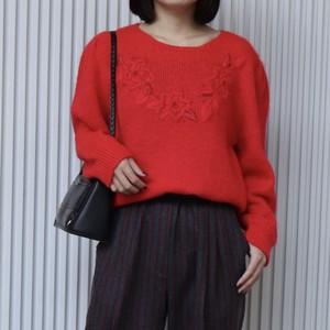 レディース 80年代 フラワー刺繍 ビーズ セーター アメリカ古着 日本L