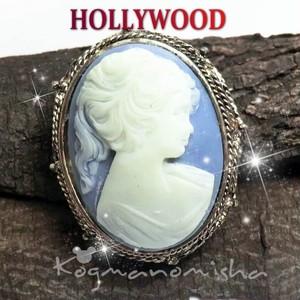 英国HOLLYWOOD★重厚感たっぷり♪ ブルーカメオ ヴィンテージ オーバル ブローチ
