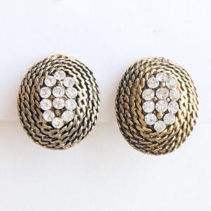 gold & rhinestone earring[e-1378] ヴィンテージイヤリング