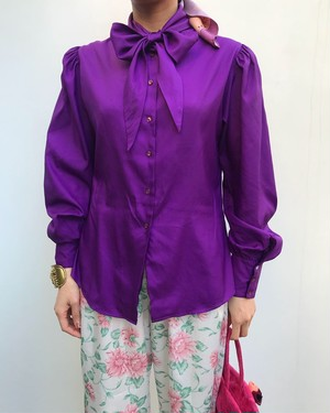 Vintage purple ribbon blouse ( ヴィンテージ  パープル リボン ブラウス )