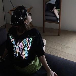big butterfly back print t-shirt