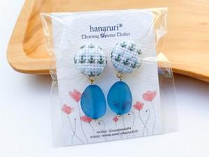 【hanaruri*】87カラフルビーンズピアス(ブルー)