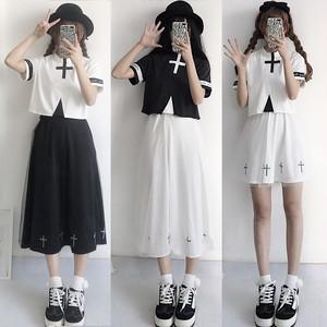【セットアップ】レトロ清新春夏刺繍半袖トップス+Aラインハイウエストスカートセットアップ