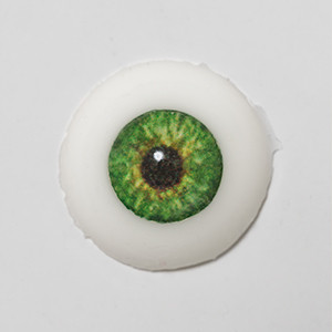 Silicone eye - 15mm Forest Green on Natural Color Sclera
