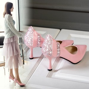 【pumps】 2018 autumn new Korean  pointed toe sexy sequins middle heel pumps