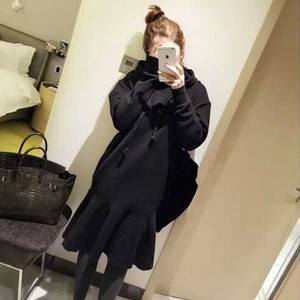 【dress】フード付きカジュアル無地フィッシュテールワンピース 24284277
