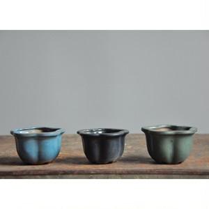 【 豆盆栽鉢 - 輪花 - 】 豆鉢 / 豆植木鉢 / 植木鉢 / vintage / bonsai / japan