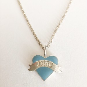 """Dior"" 925 silver blue heart necklace[n-238]"