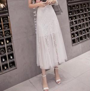 lace slit skirt 2color