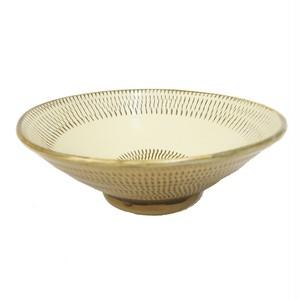 小鹿田焼 7寸 どんぶり鉢 トビカンナ黄色 小袋定雄窯