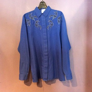 80's blue embroidered×beads design shirt [B1920]