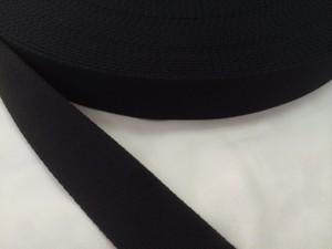 柔らかい感触のポリエステルテープ 厚手 38㎜幅 50m 黒