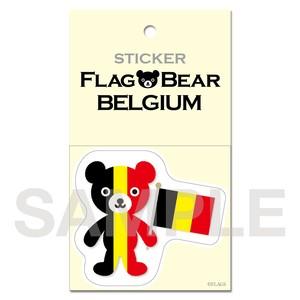 FLAG BEAR STICKER <BELGIUM> ベルギー (大(L))