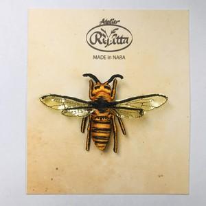 【アトリエリジッタ】 刺繍ブローチ「オオスズメバチ」