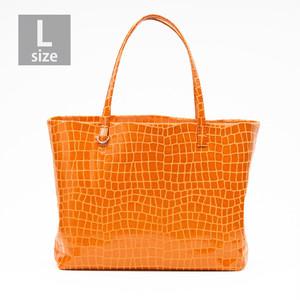 本革カラフルエコトートバッグ【ピッグスキン】オレンジ Lサイズ