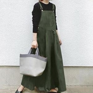 【ワンピース】人気高い 特別なデザイン 韓国系 2色 無地 ノースリーブ Aライン キャミソール ロングワンピース43657635
