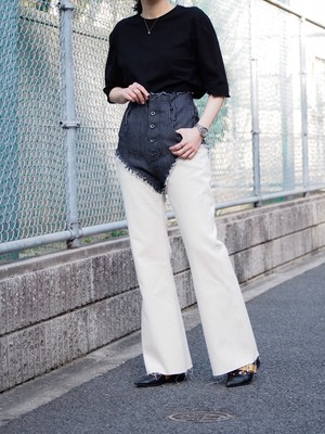 disemBySiiK Flare Denim Pants white-navy