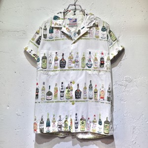 "60's ""THE MEN'S SHOP"" cotton s/s loop collar shirts ""cocktail pattern"""
