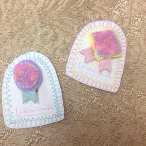 Lantana camara ロゼット風毛糸刺繍のイヤリング 片耳用