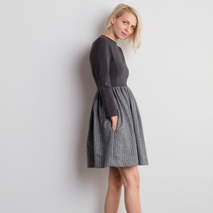 Stripe Flair Dress / Grey