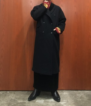PETITE SOPHISTICATE MADE IN USA velours collar double-breasted wool coat 【S位】