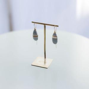 JEPUN stripe blue opal chain pierced earrings