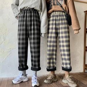 【ボトムス】大活躍ファッションチェック柄レギュラー丈切り替えハイウエストカジュアルパンツ37599929