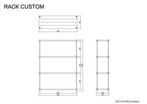 オーダーメイド 棚板間隔が自由に変えられる パイン材のフリーラック ブラウン/黒錆